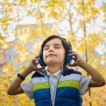 Boy listening in headphones