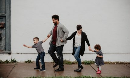 Family of Four Walking