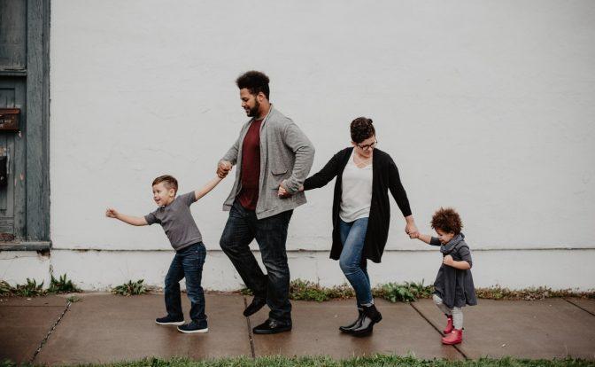 Family of Four Walking