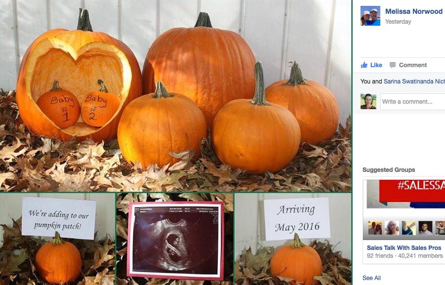 Twin Pregnancy Announcement Pumpkin Patch