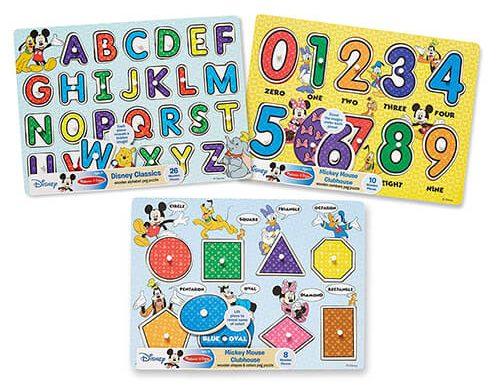 Melissa & Doug Disney Classics Alphabet Wooden Peg Puzzle
