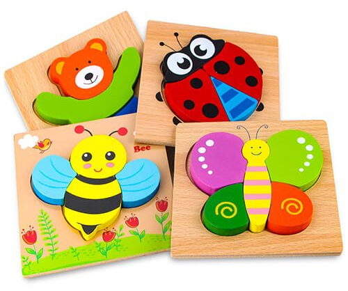 SKYFIELD Wooden Animal Jigsaw Puzzles for Toddlers